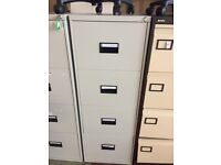 Good Condition Tall H 133cm Steel Grey 4 Draw Suspension Office Filing Cabinet NO KEY