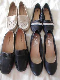 4 pairs of ladies shoes size 9 as new condition