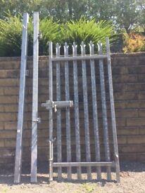 Galvanised steel palisade security gate