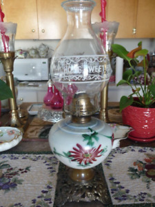 Lovely Antique  Oil Lamp With Painted Milk Glass Font