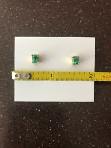 Real Emerald Stud Earrings with 18k Gold
