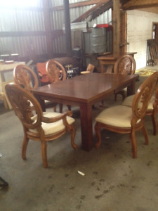 Dining set with six unique chairs