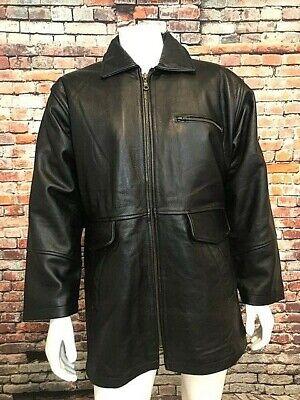 NEW Men's Trucker Motorcycle Jacket, Black Cowhide Leather, Remov Lining, Sz (Men Cowhide Leather)