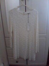 womens cream long sleeve dress size 12 nwts