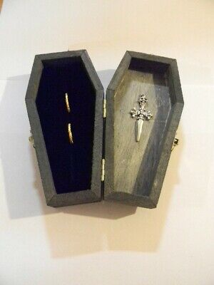 Wedding Ceremony Gothic Wicca Cross Skull Tombstone Coffin Ring Bearer Box