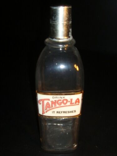 Circa 1930s Tango-La Label Under Glass Syrup Bottle