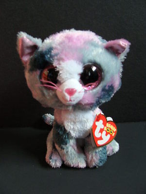Nwt Ty Beanie Boos 6  Lindi Cat Gray Plush Boo 2016 Pink Glitter Eyes Kitty New