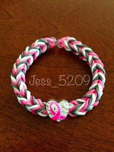 PINK-Breast-Cancer-Support-Awareness-Ribbon-Rainbow-Loom-Glow-Stretch-Bracelet