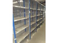 60 bays of dexion impex industrial shelving 2.4m high ( storage , pallet racking )