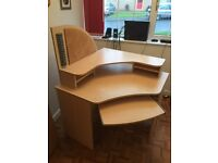 For Sale, light beach colour corner desk, drawers, cupboard and filing cabinet.