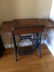 Antique Singer sewing machine and table stand