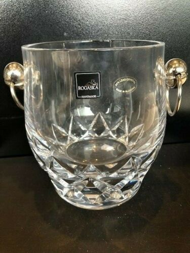 Rogaska Crystal Ice Bucket with Stainless Handles
