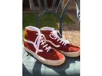 Vans red suede boots size 9.0
