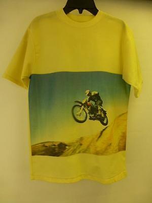 VTG JC Penney youth kids yellow dirt bike motorcycle print on Shirt sz XL 18-20