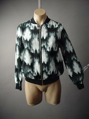 Black White Tie-Dye Pattern Sporty Style Casual Track Bomber
