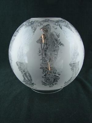 FABULOUS VICTORIAN FULLY ETCHED GLOBE SHADE FOR DUPLEX OIL LAMP FIGURAL DESIGN