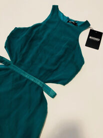Brand new with tags, prom/formal evening dress, missguided emerald green cut out floor length dress