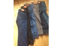 7 Pairs of mens Levi jeans waist 36in leg length 30in