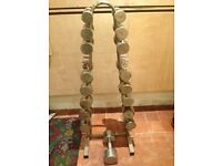 Weights set and rack 3-10kg and one 14kg dumb bell, used but in good condition