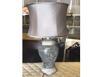 Two grey /silver crushed glass table lamps with grey satin shades