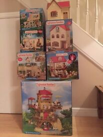 Sylvanian Family Bumper Bundle - 6 buidlings with original boxes, lots of accessories/animals )