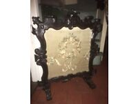 antique vintage carved wood fire screen tapestry