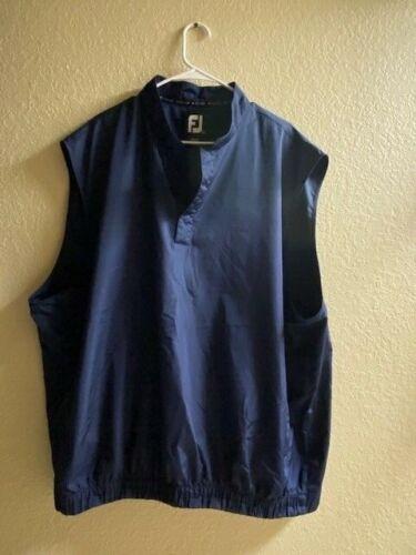 FOOTJOY 1/4 BUTTON GOLF VEST - Blue Sleeveless Windbreaker Mens Size XXL 2XL