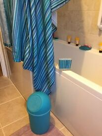 Shower curtain, bathroom basket and set for the teeth brush