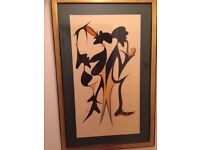 Batik picture, very large, bought in Nairobi. Measures 105cm by 67cm.