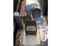 Metal buckets / pots/umbrella stand £5 each