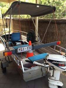 3.6 metre tinny with canopy & 9.9 hp Johnson West Beach West Torrens Area Preview