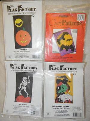 NEW Lot 4 Halloween Flag Patterns Skeleton Witch Bats Spiders Pumpkins NIP UC FF