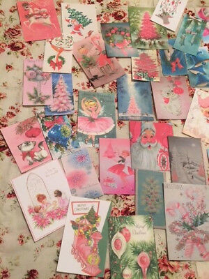 Christmas Die Cuts-Gift Tags~90 Shabby Pink-Green-Blue Vintage Style~Mixed Media ()