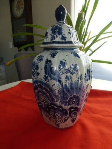 "Large Delfts Blue Antique Ribbed Ginger Jar w Lid 15 1/4"" Hand Painted Holland"