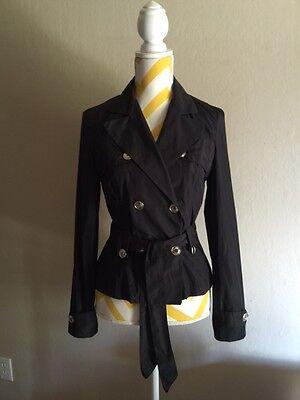 QC Italian Women's Tailored Double Breasted  Black Jacket w/belt Size US 6