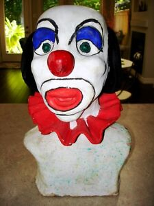 Large CLOWN HEAD BUST sculpted clay TOO COOL! very heavy CREEPY Kitchener / Waterloo Kitchener Area image 8