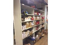 Second hand steel shelving, one metre bays, half metre deep, three metres high, Very good condition