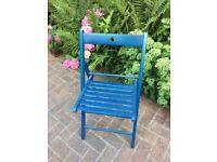 Folding wooden blue garden chair
