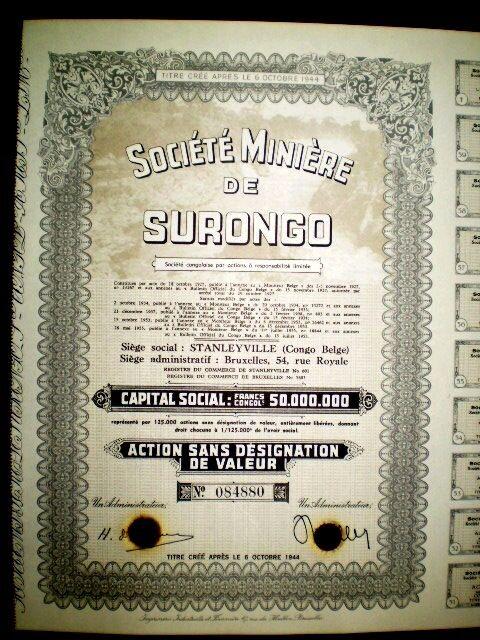Minière de Surongo,Belgian Congo,Diamonds,share certificate 1955
