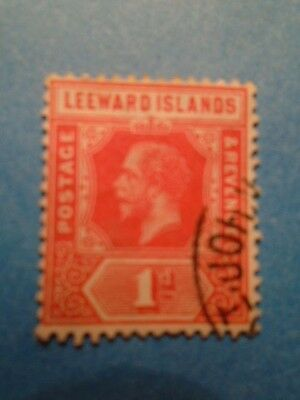 Leeward Islands: KGV 1915 1d Bright Scarlet Definitive. SG48a. P14. Used.