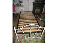 Two Identical Steel Framed Enamelled Beds.