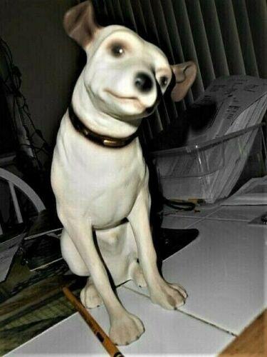"Vintage Advertising  Original RCA Nipper Dog Chalkware and Felt Statue 10"""