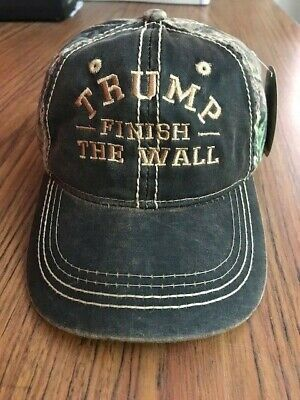 FINISH THE WALL TRUMP  EMBROIDERED CAP MOSSY OAK with Tan Embroidery  (Oak Finish Wall)