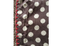 Boden Spotty Polka Dot Scarf with pink edging (Silk / Cotton mix)