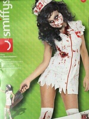 SEXY Womens Blood ZOMBIE WALKING DEAD NURSE 3 PIECE Fancy Dress Costume Outfit (Dead Nurse Costume)