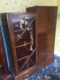 Antique vintage glass cabinet - 3ft wide x 3.5 ft high