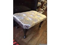 Stunning Chrome Crushed Velvet *FOOTSTOOL* Crystal Diamontees & Black Queen Anne Legs
