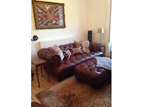 Oskar Large Three Seater Chesterfield Leather Sofa with Footstool | RRP £2,950 |