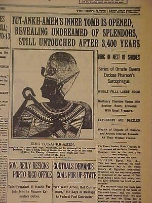VINTAGE NEWSPAPER HEADLINE~PHARAOH KING TUT-ANKH-AMEN EGYPT TOMB SHRINES OPENED~