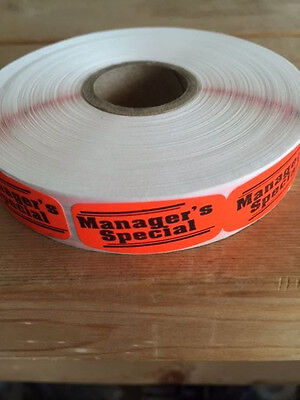 """1.25"""" x .625"""" MANAGERS SPECIAL MERCHANDISE LABELS 1000 PER ROLL FL RED STICKER"""